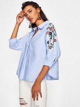 Shein | Botanical Embroidered Sleeve V Neckline Shirt | Clouty