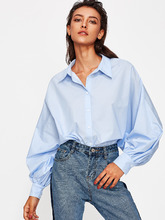 Shein | Exaggerate Bishop Sleeve Curved Shirt | Clouty