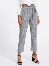 Shein | Tie Waist Glen Plaid Frill Pants | Clouty