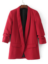 Shein | Ruched Sleeve Shawl Collar Tailored Blazer | Clouty