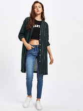 Shein | Pinstripe Drop Shoulder Shirt | Clouty