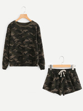 Shein | Camo Pullover And Raw Cut Sweatshorts Set | Clouty