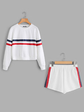 Shein | Striped Tape Applique Pullover And Shorts Set | Clouty