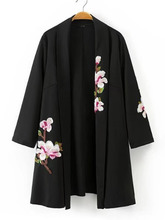 Shein | Shawl Collar Embroidered Flower Kimono | Clouty