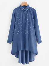 Shein | Faux Pearl High Low Denim Shirt | Clouty