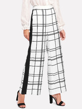 Shein | Panel Side Grid Palazzo Pants | Clouty