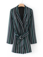 Shein | Striped Blazer Romper With Belt | Clouty