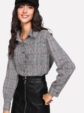 Shein | O-Ring Cutout Shoulder Plaid Shirt | Clouty