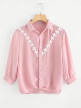 Shein | Contrast Lace Shirt | Clouty