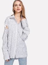Shein | Hidden Button Cutout Tied Sleeve Pinstripe Shirt | Clouty