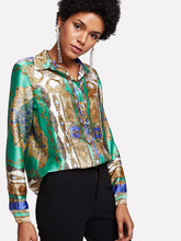 Shein | Ornate Print Button Up Shirt | Clouty