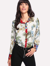 Shein | Button Up Botanical Print Shirt | Clouty