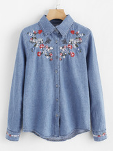 Shein | Botanical Embroidered Denim Shirt | Clouty