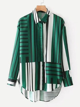 Shein | Striped High Low Shirt | Clouty