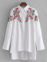 Shein | High Low Embroidery Shirt | Clouty
