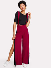 Shein | Crop Tee With Side Split Jumpsuit | Clouty