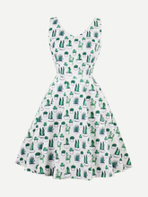 Shein | V Neckline Cactus Print Dress | Clouty