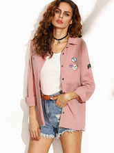 Shein | Letter Print Back Shirt Jacket With Badge Detail | Clouty