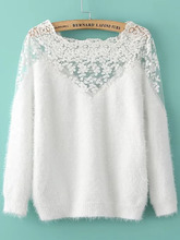 Shein | Lace Insert Boat Neck Mohair Sweater | Clouty
