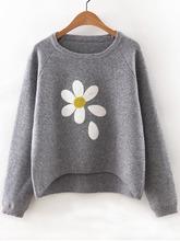 Shein | Flower Print Raglan Sleeve Dip Hem Sweater | Clouty