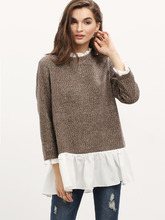 Shein | Contrast Frill Neck And Hem Sweater | Clouty