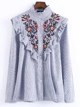 Shein | Vertical Striped Flower Embroidered Frill Shirt | Clouty