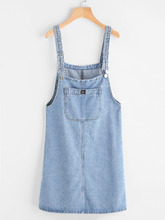 Shein   Pinafore Denim Dress With Pockets   Clouty