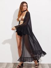 Shein | Trumpet Sleeve Frilled Longline Sheer Kimono | Clouty