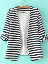 Shein | Striped Rolled Sleeve Open Front Blazer | Clouty