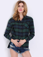 Shein | Tartan Plaid Shirt With Chest Pocket | Clouty