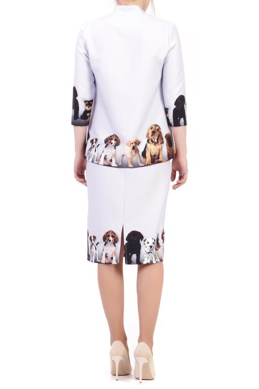 Adzhedo | Светло-голубой, собачка Костюм: блуза, юбка Adzhedo | Clouty