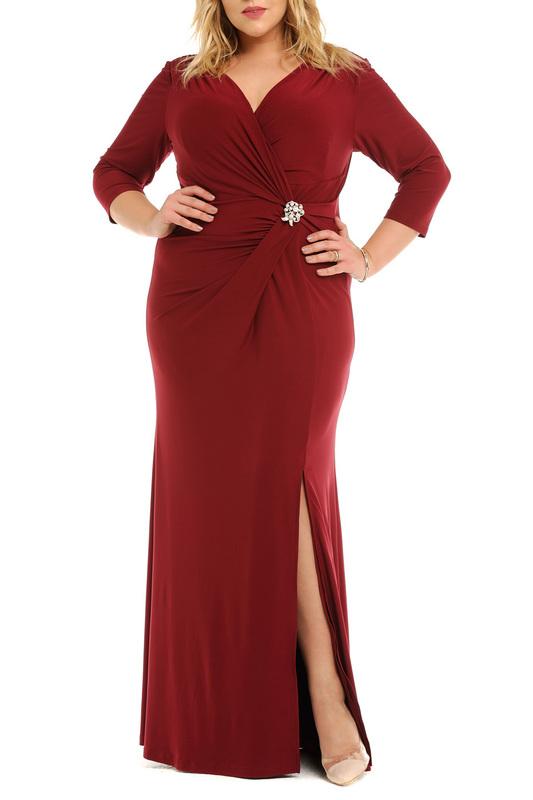 Svesta | Бордовый Платье с брошью Svesta | Clouty