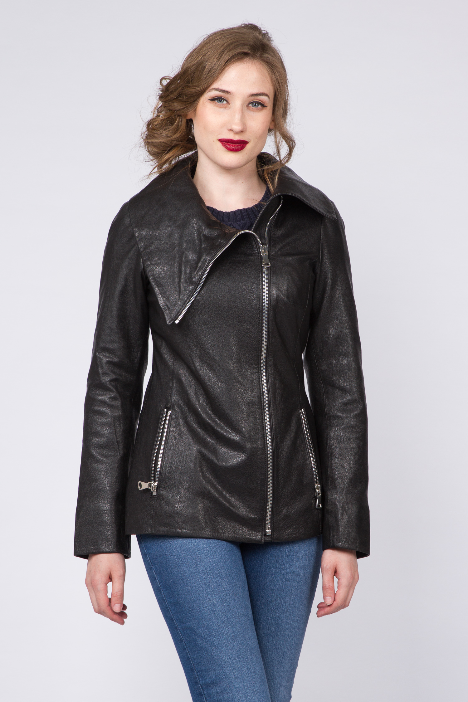 a5cc41850b0b Московская Меховая Компания   черный Женская кожаная куртка из натуральной  кожи с воротником, ...