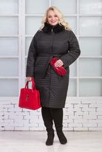Московская Меховая Компания   Пуховик женский из текстиля с капюшоном, отделка кролик   Clouty