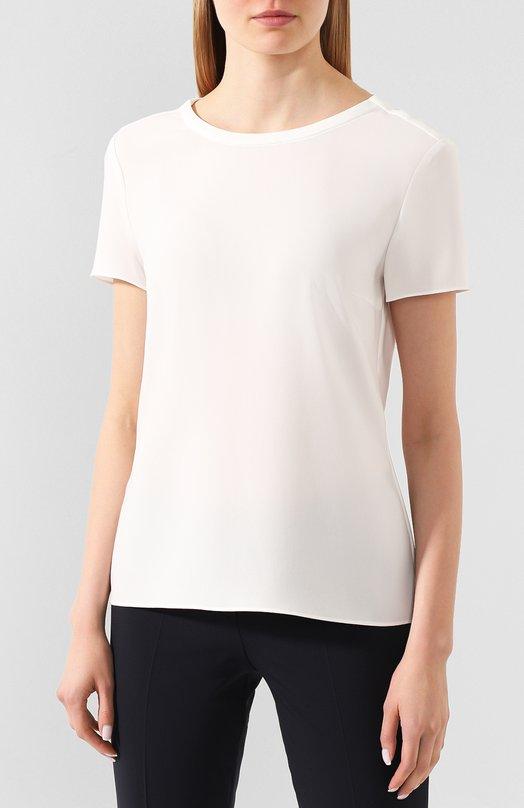 BOSS | Белый Топ прямого кроя с коротким рукавом и круглым вырезом BOSS | Clouty