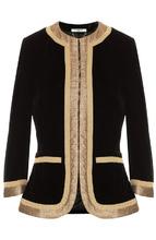GIVENCHY | Бархатный жакет с укороченным рукавом и металлизированной отделкой Givenchy | Clouty