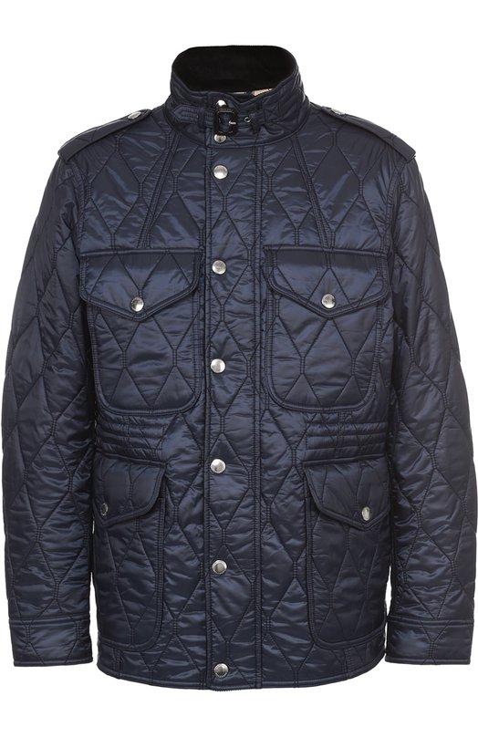 BURBERRY   Темно-синий Утепленная стеганая куртка с воротником-стойкой  Burberry   Clouty ... faa3198ec40