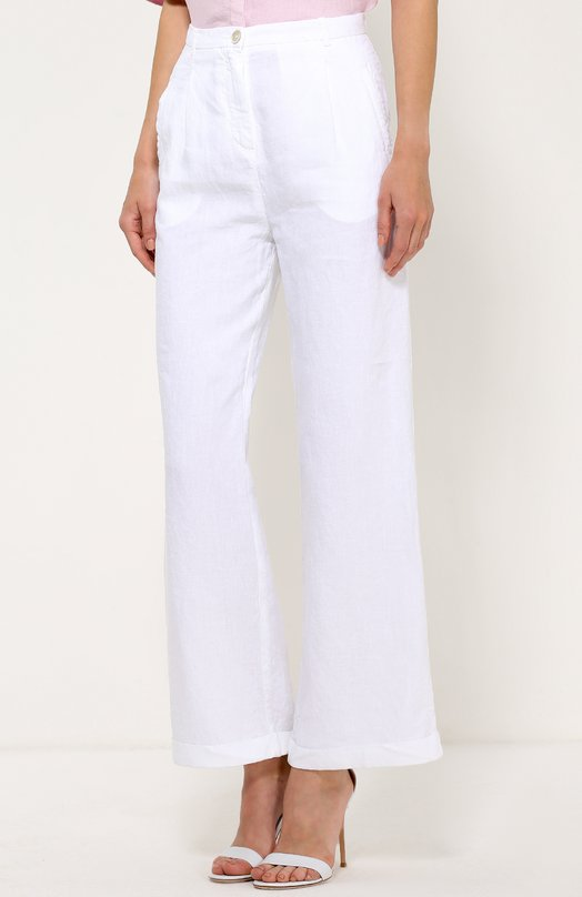 120% Lino | Белый Льняные расклешенные брюки с карманами 120% Lino | Clouty
