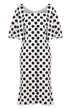 Dolce & Gabbana   Приталенное платье в горох с широкими рукавами Dolce & Gabbana   Clouty