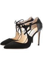 Jimmy Choo | Замшевые туфли Vanessa 100 с кожаной вставкой на шпильке Jimmy Choo | Clouty