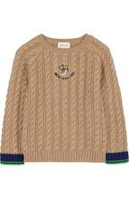 GUCCI | Шерстяной свитер фактурной вязки с нашивкой Gucci | Clouty