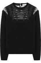 VALENTINO | Пуловер из смеси шерсти и кашемира с кружевными вставками Valentino | Clouty