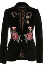 Dolce & Gabbana | Приталенный бархатный жакет с контрастной вышивкой Dolce & Gabbana | Clouty