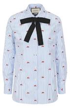 GUCCI   Хлопковая блуза прямого кроя с бантом Gucci   Clouty