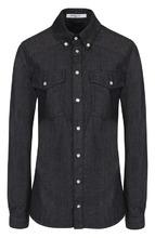 GIVENCHY | Приталенная джинсовая блуза с логотипом бренда Givenchy | Clouty