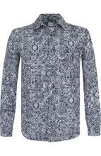 120% Lino | Льняная рубашка с принтом 120% Lino | Clouty