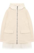 Moncler Enfant   Укороченное пуховое пальто с капюшоном и меховой отделкой Moncler Enfant   Clouty