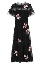 VALENTINO RED   Кружевное платье-миди с цветочной отделкой REDVALENTINO   Clouty