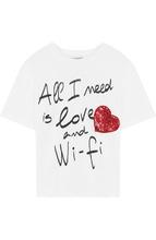 Dolce & Gabbana | Хлопковая футболка с принтом и пайетками Dolce & Gabbana | Clouty