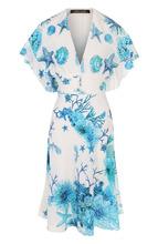 Roberto Cavalli   Шелковое платье-миди с принтом и V-образным вырезом Roberto Cavalli   Clouty